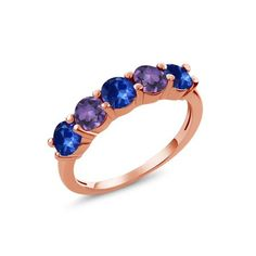 1.02 Ct Blue Sapphire Purple Amethyst 18K Rose Gold Plated Silver Wedding Band Ring #tiffanyblueweddings Silver Wedding Bands, Wedding Ring Bands, Purple Amethyst, Blue Sapphire, Tiffany Blue Weddings, 18k Rose Gold, Rose Gold Plates, Rings, Jewelry