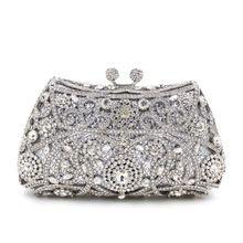 Nieuwe collectie 2016 Zilveren Crystal Avondtasje Vrouwen Bruiloft Clutch Purse Handtassen Goud Paars Hemelsblauw L2035(China (Mainland))
