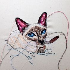 Custom cat art canvas portrait, created using free-motion embroidery on a sewing machine Free Motion Embroidery, Machine Embroidery Patterns, Embroidery Art, Cat Art, Canvas Art, Cross Stitch, Textiles, Portrait, Sewing