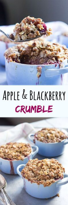Apple & Blackberry Crumble. A simple yet appetising dessert, that can even be eaten for breakfast.
