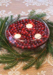 Floating cranberry centerpiece