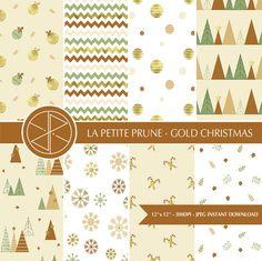 Papel digital Navidad Dorado, Año nuevo, Christmas, marrón, bolas de navidad, avetos, flores, rayas, topos, nieve, estampado navideño de PetitePrune en Etsy https://www.etsy.com/es/listing/465494374/papel-digital-navidad-dorado-ano-nuevo