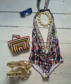 Ethnic Jewel Embellished Designer Swimsuit IBIZA Tanning BIKINI Swimwear uk10 38 | eBay