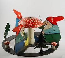 Antique Handpainted CHRISTMAS TREE STAND - gnome , elf, mushroom