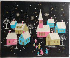 Unused 50s Glittered Mid Century Town at Night Vintage Christmas Card 779   eBay