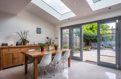 The Lost Secret of Kitchen Extension Ideas to Maximise the Potential of Your Space - fiihaamay Open Plan Kitchen Living Room, Kitchen Doors, Open Plan Living, Dining Room, Big Kitchen, Kitchen Cabinets, Orangerie Extension, Extension Veranda, Bungalow Extensions
