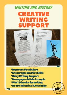 Looking for support to help students write well? Looking for interesting creative writing resources? This mini series of 'War Time Writing' uses emotions Writing Worksheets, Writing Resources, Kids Learning Activities, Writing Activities, Improve Vocabulary, Diary Writing, Diary Entry, School Grades, Newspaper Article