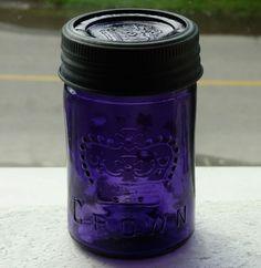 Antique small pint size CROWN deep purple fruit canning jar FREE SHIPPING! Antique Bottles, Vintage Bottles, Bottles And Jars, Antique Glass, Glass Bottles, Ball Canning Jars, Ball Mason Jars, Mason Jar Gifts, Vintage Mason Jars