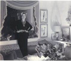 Diana Vreeland at her apartment at 400 Park Avenue designed by George Stacey.  Photo by George Platt Lynes.