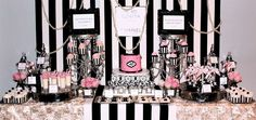 Chanel themed dessert table at a 40th birthday party!  See more party planning ideas at CatchMyParty.com!