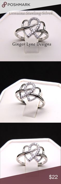 ❤️INFINITY AND HEARTS❤️ NEW ADORABLE INFINITY AND HEARTS RING!! CLEAR AAA CZ SET IN 925 STERLING SILVER SIZE 6 includes black velvet gift box Jewelry Rings