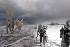 Les Braves Omaha beach, Normandy, France. | 26 Ghostly Images Of World War Two, Blended With The Present