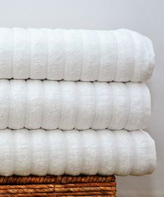 Another great find on #zulily! White Chunky Rib Luxury Bath Sheet - Set of Three #zulilyfinds