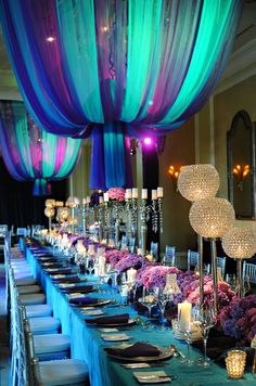 draping - teal + purple - tablescapes | Tumblr