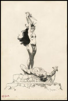 Frank Frazetta illustration for The Mastermind of Mars.