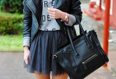 Bolso Negro   Persunmall , Otoño-Invierno 2014. En el armario de lapetiteblonde desde el 28-3-2014 Zara Kids, What To Wear, Style Me, Leather Jacket, Sweatshirts, Skirts, Pink, Jackets, Bags