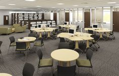 Kay-Twelve.com Use single desks and group desks to create a diverse seating arrangement for your common area.