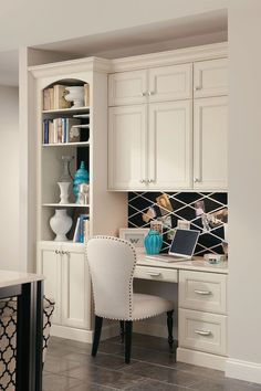 white built in for office built in office in the kitchen office pinterest livres built in desk and nooks - Built In Cabinets For Kitchen