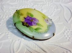 Victorian Brooch Hand Painted Porcelain Flowers 1890's