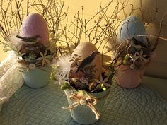 Altered Peat Pot NestRobins Egg Easter Egg Peat Pot by Fannypippin,
