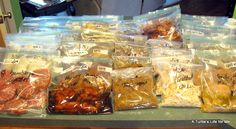 "Freezer Meals on the Cheap:  This lady is a genius!!!! WOW! 4 hours, 46 meals, 95 dollars. Another pinner said, ""I started doing this earlier this year and cannot believe how much stress it has eliminated and how much better we are eating while saving money."""