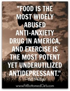 Fitness Quotes : Food is the most widely abused anti-anxiety drug in America and exercise is th Sport Fitness, Fitness Tips, Health Fitness, Fitness Memes, Funny Fitness, Women's Fitness, Fitness Planner, Workout Fitness, Fitness Motivation Quotes