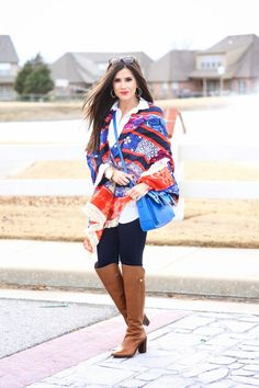 bright scarf - transitional outfit