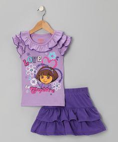 Take a look at this Purple 'Explore' Top & Skirt - Girls by Dora the Explorer on #zulily today!