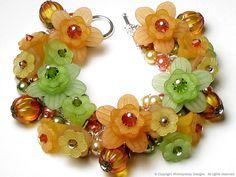 Country Pumpkin Garden Floral Crystal Charm Bracelet