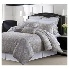 This soft and supple printed 300 thread count long staple cotton sateen 12-piece bedding set includes one oversized comforter, two shams, two Euro shams, two decorative pillows, one bed skirt, one oversize flat sheet, one deep pocket fitted sheet, and two pillowcases.  Available in Queen, King, Cal King and Full sizes.