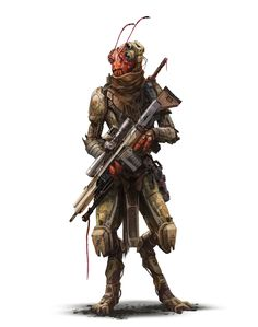 Shirren Fullbright Soldier - Starfinder RPG (Pact Worlds art) - Mark Molnar Alien Character, Character Concept, Character Art, Star Wars Characters Pictures, Sci Fi Characters, Space Fantasy, Sci Fi Fantasy, Alien Soldier, Science Fiction