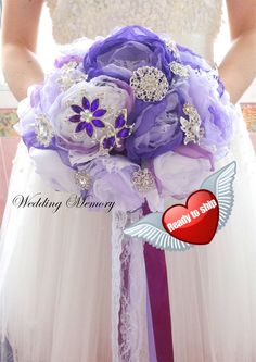 Full price Ready 9 fabric brooch bouquet. Purple by MemoryWedding