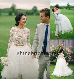 Two Pieces Long Sleeve Lace Hi-Lo Wedding Dresses Detachable Skirt Bridal Gowns