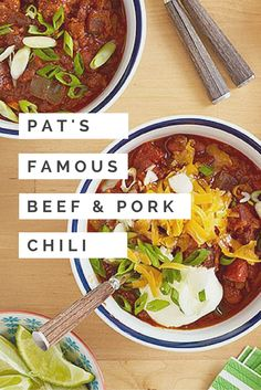 Pat Neely's Famous Chili: Beef, pork AND bacon: this is a meat-lover's idea of heaven >> http://www.ulive.com/video/pats-famous-chili