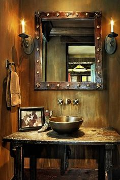 4 Lazy J Ranch - rustic - bathroom - denver - RMT Architects Rustic Powder Room, Ranch House, Western Bathrooms, Home Decor, Ranch Style, Log Homes, Rustic Bathrooms, Western Home Decor, Rustic House