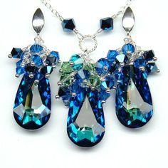 Blue Jewelry SetBermuda Blue Teardrop Swarovski by martaky on Etsy, $108.00