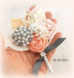 Brooch Groom Boutonniere in Pewter Ivory Coral and by SolBijou, $35.00