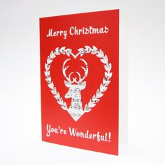 Merry Christmas, You're Wonderful Card, Stag Card, Reindeer Card, Deer Card, Winter Wonderland Card, Handmade Christmas Cards, Xmas Cards
