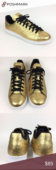 Adidas Stan Smith Originals Trainers Gold Ostrich Made of a gold metallic  leather upper with ostrich