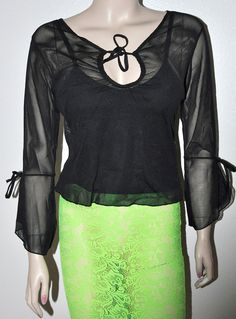 Sexy Black Mesh Sheer Tie front Boho Style Over cami tank Top M NWTS @ piece set #Jazzie #Blouse #Clubwear