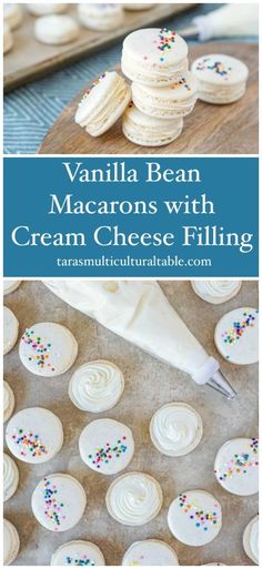 Vanilla Bean Macarons with Cream Cheese recipe! These vanilla-speckled macarons are topped with nonpareils and filled with a rich cream cheese frosting. Vanilla Macaron Recipes, Vanilla Macaroons, French Macaroon Recipes, Macaroon Cookies, Macaron Flavors, French Macaroons, Recipes With Vanilla Beans, Shortbread Cookies, Macaroon Filling