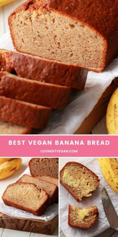 This easy vegan banana bread is the best ever! Its moist on the inside crispy on the outside and simply fabulous served warm from the oven and spread with vegan butter. Enjoy this banana bread for breakfast or as a sweet afternoon treat it's so good! Vegetarian Desserts, Vegan Breakfast Recipes, Vegan Sweets, Vegan Recipes, Dessert Recipes, Homemade Rice Crispy Treats, Vegan Bread, Easy Vegan Banana Bread, Vegan Comfort Food