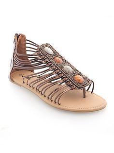 Bronze Embellished Strappy Sandal: Dots.com