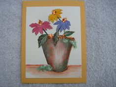 Hand Stitched Card Floral Hand Painted Cone by LisasPaintedCrafts, $5.50