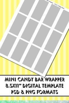 Mini Candy Bar Wrapper Digital Template PSD and PNG Format (T9)