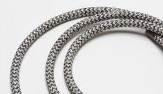 Demin & Linen Herringbone round fabric covered electrical flex