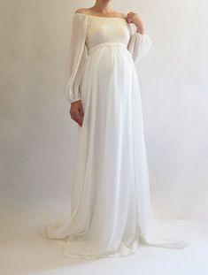 0e540d9c9948c ANNABELLE Bohemian Wedding Maternity Gown, Boho Maternity Dress for Baby  Shower, White Maternity Dress for Photoshoot, Long Sleeved Dress