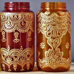 Boho Chic Table Decor Hand Painted Mason Jar Vase by LITdecor