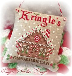 Kringles Gingerbread Cross Stitch Chart Model stitched on 32 ct Petit Point Raw…
