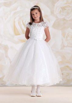 Joan Calabrese by Mon Cheri 115317 White Flower Girl Dress